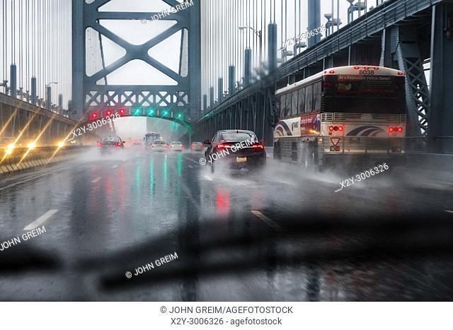 Bridge traffic during a rain storm, Ben Franklin Bridge, Philadelphia, Pennsylvania