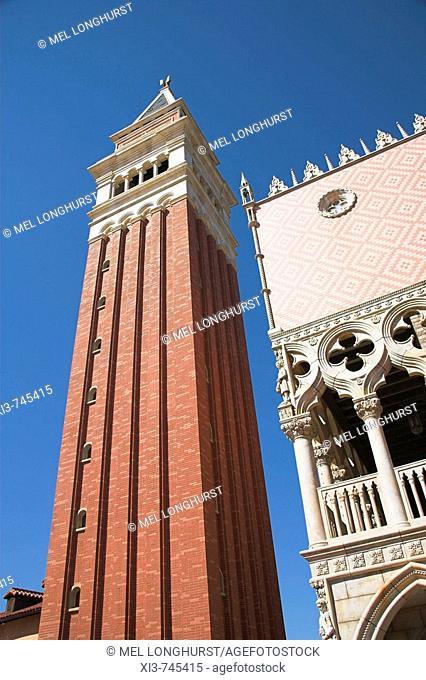 Campanile and Doges Palace, Italian section of EPCOT Center, World Showcase, Disney World, Orlando, Florida, USA