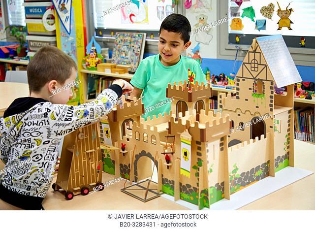 Children in the classroom of studies and games, Plant for hospitalization of children, Pediatrics, Medical care, Hospital Donostia, San Sebastian, Gipuzkoa