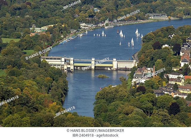 Aerial view, Lake Baldeneysee as seen from Werden, Essen, Ruhr area, North Rhine-Westphalia, Germany, Europe