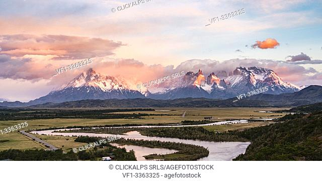 Paine Horns, Cerro Paine and Cerro Paine Grande at dawn, with Serrano river in the foreground. Torres del Paine National Park, Ultima Esperanza province