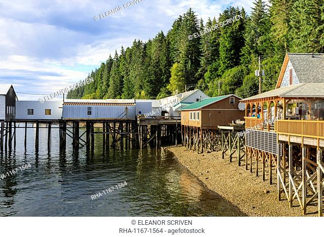 Hoonah, shoreline brewpub and dock, Tlingit Community, Icy Strait Point, Chichagof Island, Inside Passage, Southeast Alaska, United States of America