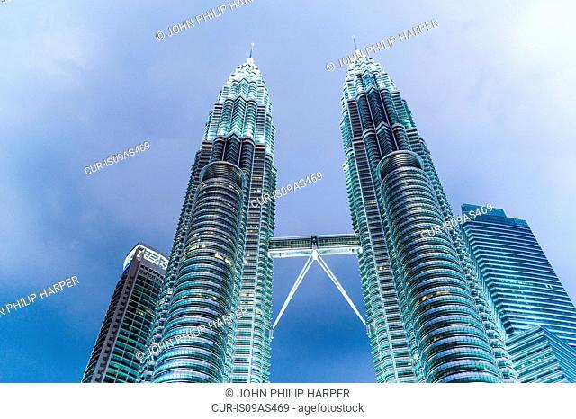 Petronas Towers, illuminated, low angle view, Kuala Lumpar, Malaysia