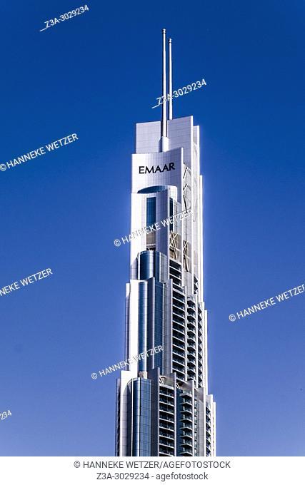 TheEmaar Tower near the Burj Khalifa in Dubai, highest building of the world
