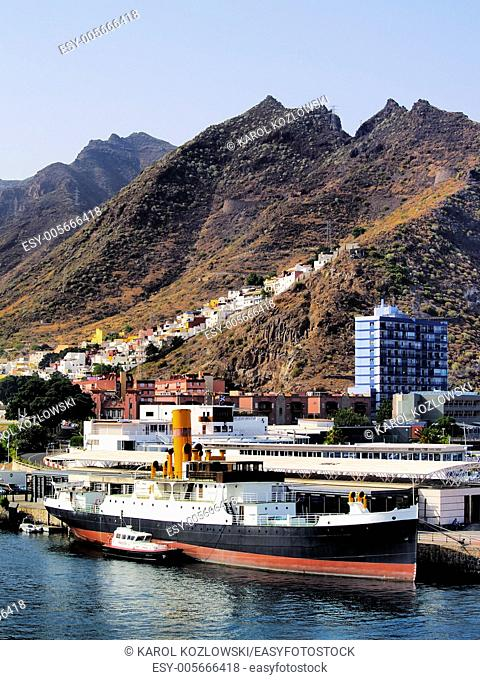 Big Ship near Tenerife on Atlantic Ocean, Canary Islands, Spain