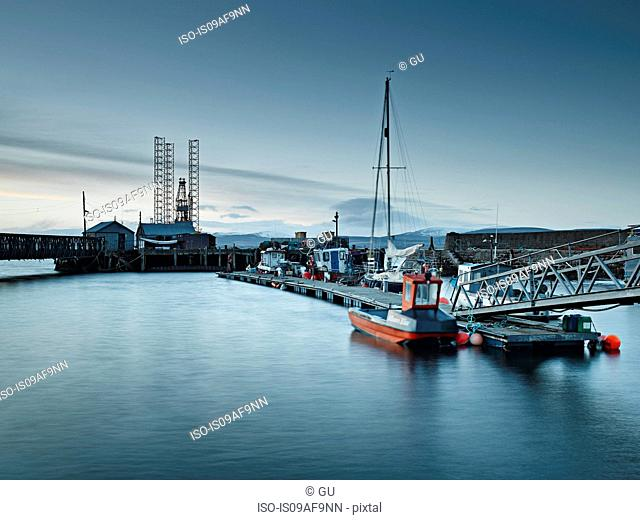 Pier and harbor, Cromarty Firth, Scotland, UK