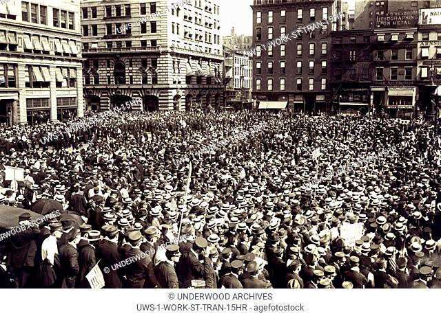 New York, New York: September 14, 1916 The huge mass meeting of striking streetcar men in Union Square after marching down Park Avenue