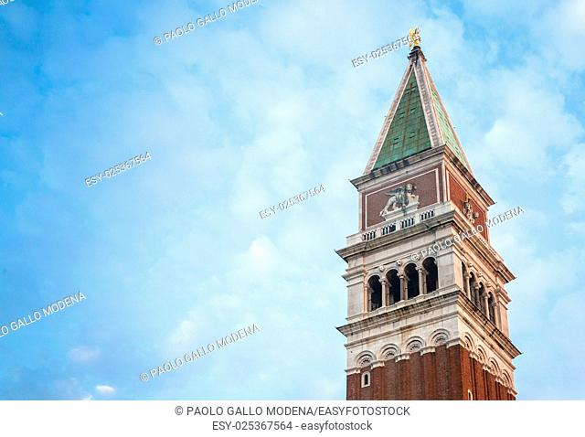 Venice, Italy - Detail of San Marco Campanile in the early morning