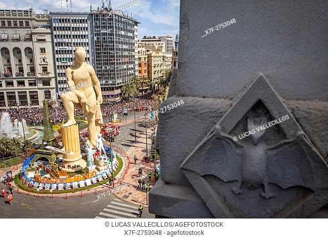 5 minutes before `Mascleta', in Plaza del Ayuntamiento,Fallas festival,Valencia,Spain
