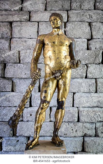 Bronze statue of Hercules in gilded bronze, The Capitoline Museums, Rome, Italy