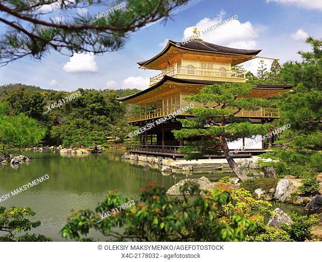 Kinkaku-ji, Temple of the Golden Pavilion surrounded by Japanese garden. Rokuon-ji, Zen Buddhist temple in Kyoto, Japan. Springtime scenery
