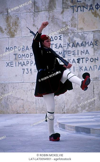 Greek parliament. Soldier in traditional uniform. Changing of the Guard ceremony