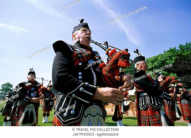Highland Games / Bagpipers, Highlands, Scotland