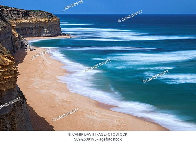 Gibsons Beach and the 12 Apostles National Marine Park viewed from the Great Ocean Road , Port Campbell National Park, Princetown, Victoria, Australia