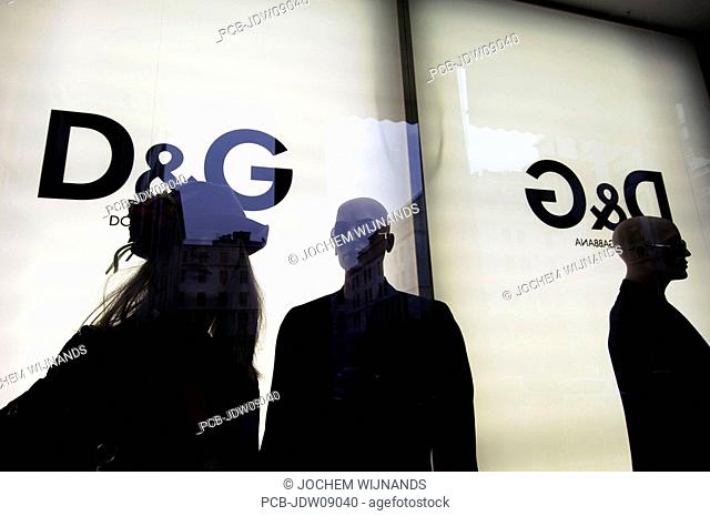 Turin, the shop window of the Dolce and Gabbana at piazza San Carlos
