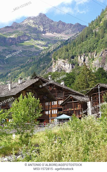 Rustic homes in the alpine village of Pedemonte  Alagna Valsesia Municipality  Province of Vercelli  Piemonte  Italy