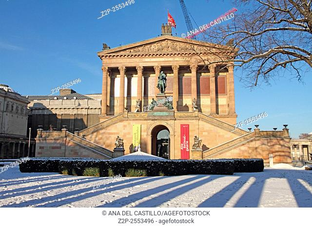 National galery museum in wintertime Altre National galerie Berlin Germany