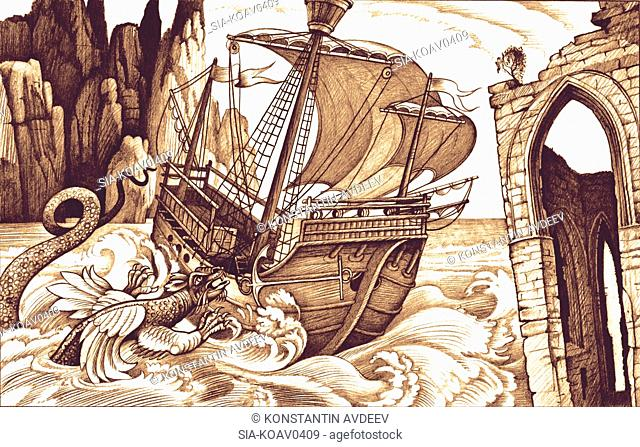 Sea dragon attacking tall ship