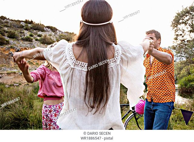 Croatia, Dalmatia, Young people dancing outdoors