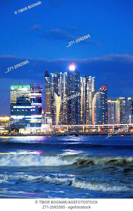 South Korea, Busan, Gwangalli Beach, skyline, skyscrapers,