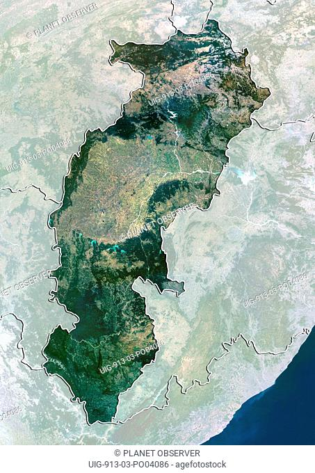 Satellite view of the State of Chhattisgarh, India. This image was compiled from data acquired by LANDSAT 5 & 7 satellites