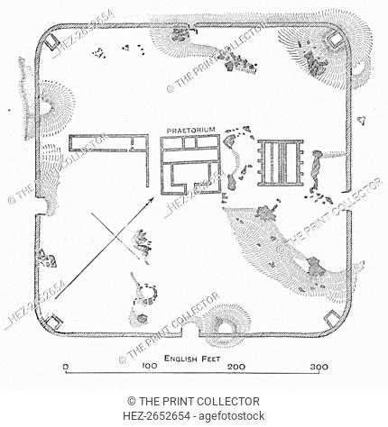 'Plan of Hardknott Fort, Cumberland', 1902. Hardknott Roman Fort is an archeological site, the remains of the Roman fort Mediobogdum