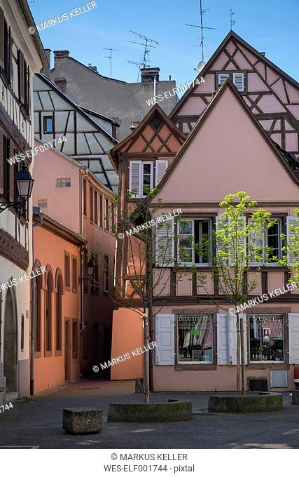 France, Colmar, Rue de l'Ange, historic frame houses at the old town