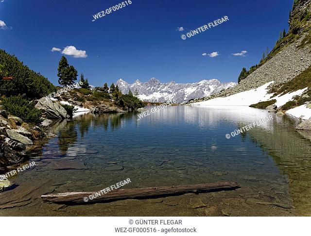 Austria, Styria, Liezen District, Lake Spiegelsee, View to Mount Dachstein