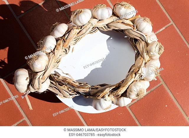 Neapolitan garlic braid leaning against the wall