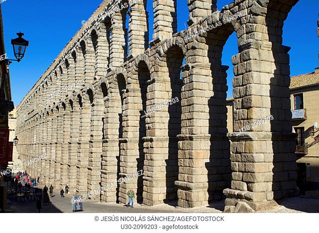 Roman Aqueduct in Segovia, city declarated Historical-Artistic Site, and World Heritage by UNESCO