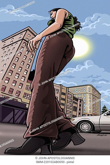 Woman walking down a city street