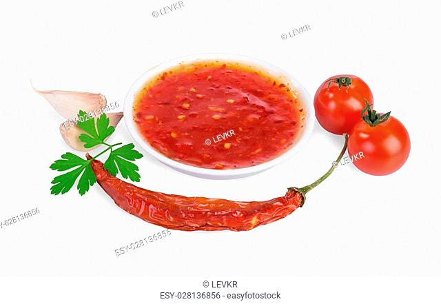 red hot chilli sauce isolated on a white background
