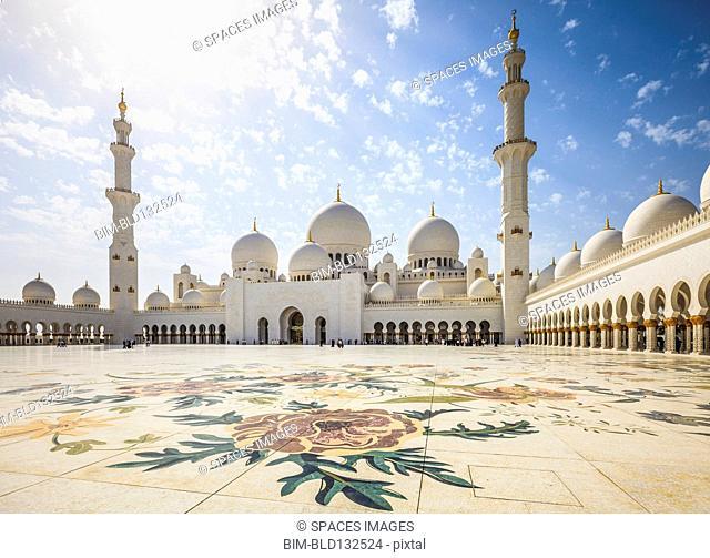 Ornate arches of Sheikh Zayed Grand Mosque, Abu Dhabi, United Arab Emirates