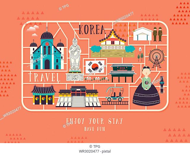 creative South Korea travel concept poster in flat style