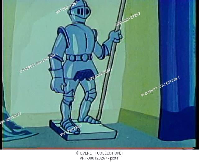 Cartoon of a knight in shining armour