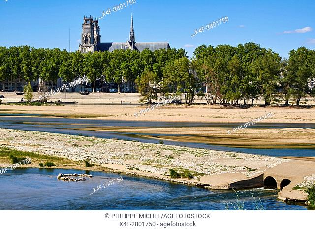 France, Loiret, Orleans, Loire bank and Sainte-Croix cathedral