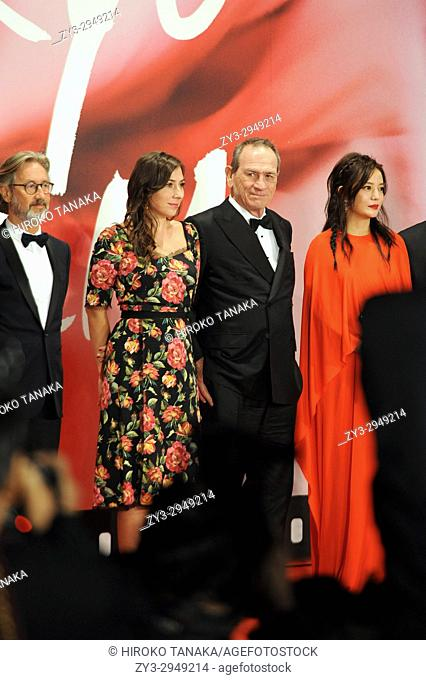 Director Martin Provost, actor and director Tommy Lee Jones along with his daughter Victoria Jones and actress Zhao Wei, attend red carpet of the 30th Tokyo...
