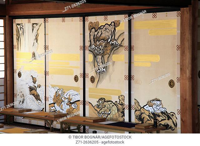 Japan; Kyoto, Tenryu-ji Temple, interior, painted screens,