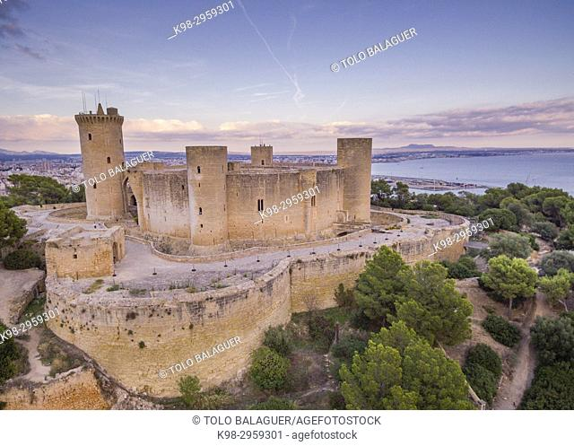 Bellver Castle, Catalan gothic style, 14th Century, Palma, Mallorca, Balearic islands, Spain