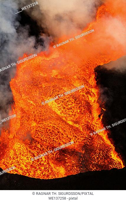 Close-up of lava glowing from the eruption at the Holuhraun Fissure. August 29, 2014 a fissure eruption started in Holuhraun at the northern end of a magma...
