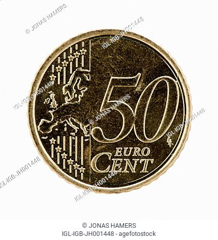 A fifty eurocent coin on a white background