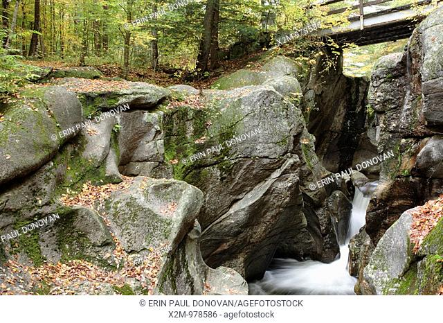 Sculptured Rocks Natural Area during the autumn months  Located in Groton, New Hampshire USA, which is part of New England     Notes   This rocky gorge was...