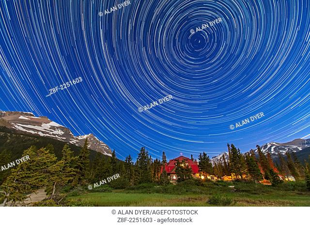 A composite of 233 images, taken with the Canon 5D MkII and 16-35mm lens, at Bow Lake in Banff, showing circumpolar star trails across the sky looking north...