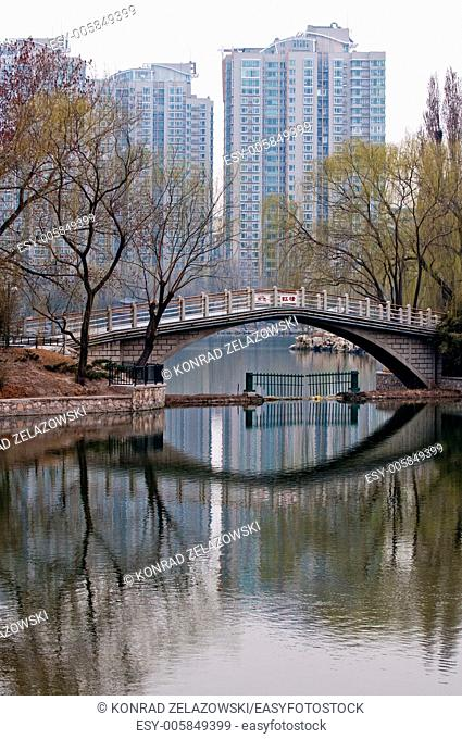 bridge in Zizhuyuan Park also called Purple or Black Bamboo Park in Haidian District, Beijing, China