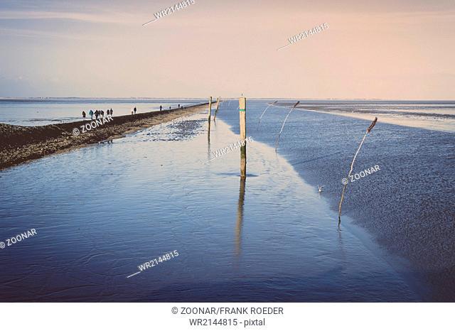 The fairway of the port Neuharlingersiel at low ti