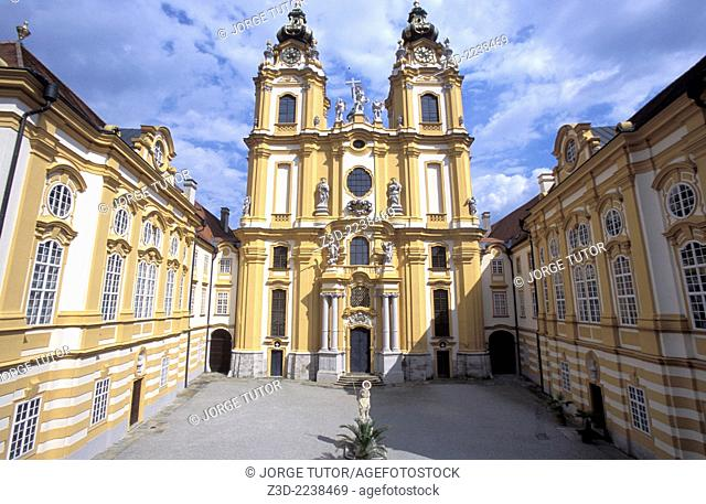 Melk Abbey Stift Melk is a Benedictine Baroque abbey in Austria, and among the world's most famous monastic sites. It is located above the town of Melk on a...