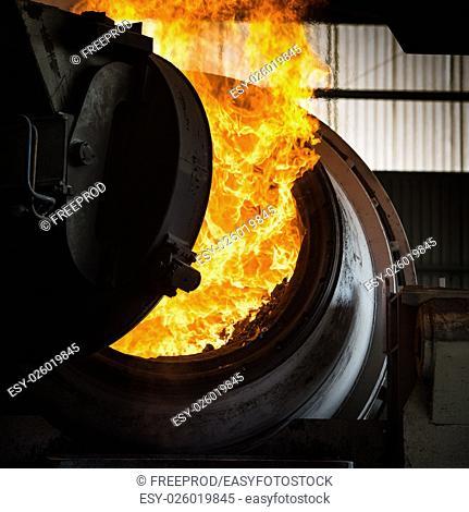 Hot steel pouring in steel plant, iron, aluminium