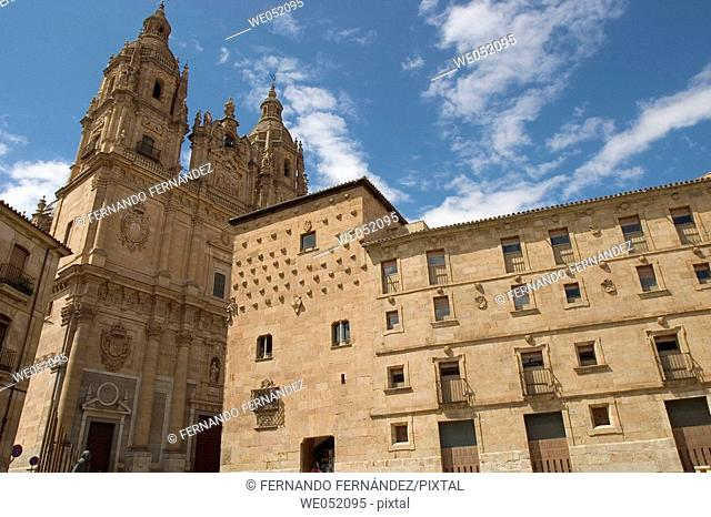 La Clerecía (18ht century baroque Jesuit monastery) and Casa de las Conchas (16th century) on the right, Salamanca. Castilla-León, Spain