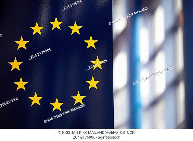 The EU flag inside central building