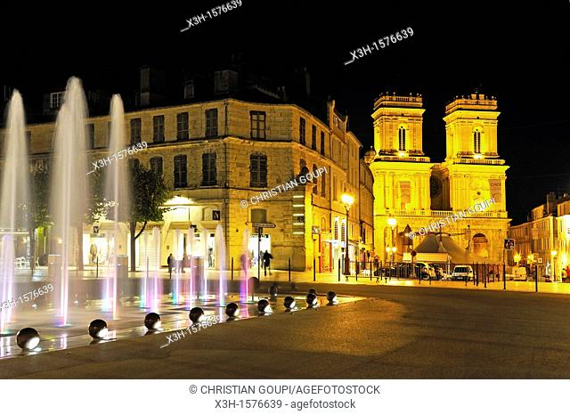 fountain on the Liberation Square with the Cathedral background, Auch, Gers department, Midi-Pyrenees, southwest of France, Europe